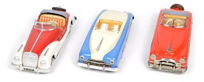 Lot 69 - Three 1950's convertible tinplate cars