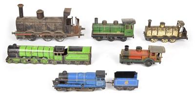 Lot 22 - Collection of six wind up clockwork tinplate locomotives