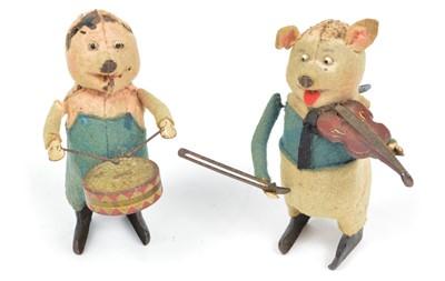 Lot 113 - Two 1930s Schuco Disney's The Three Little Pigs clockwork toys