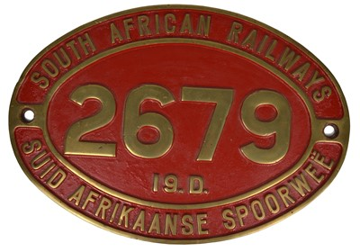 Lot 6 - South African Railways brass cabside numberplate