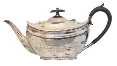 Lot 167 - A George V silver presentation teapot