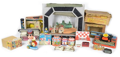 Lot 107 - Selection of items including instruments and theatre-related toys