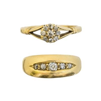 Lot 117 - Two 18ct gold diamond dress rings