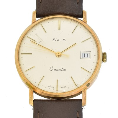 Lot 95 - A 9ct gold cased Avia Quartz wristwatch