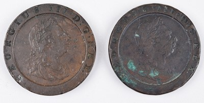 Lot 36 - King George III, Twopence, 1797, Soho Mint, Birmingham 'Cartwheel' coinage (2).