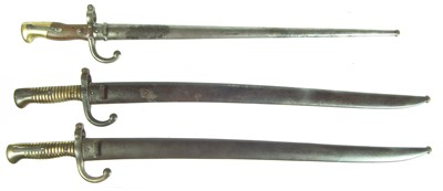 Lot 102 - Two Chassepot M1866 and a Gras M1873 bayonets and scabbards