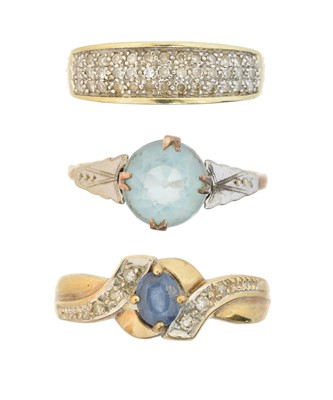 Lot 65 - Three 9ct gold gem-set rings