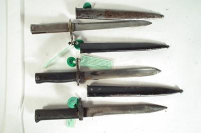 Lot 33 - Three Turkish Ersatz bayonets and scabbards.