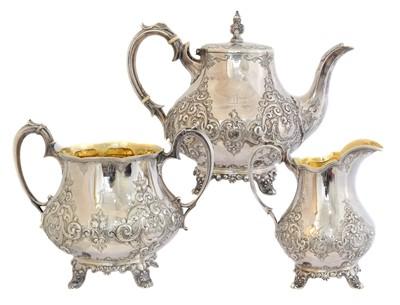 Lot 150 - A Victorian silver three-piece tea set