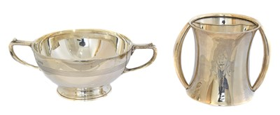 Lot 152 - Two silver twin handled cups