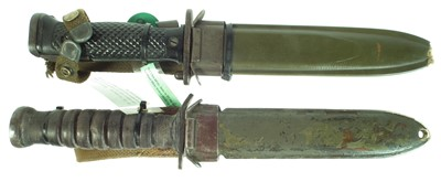 Lot 63 - US bayonet and fighting knife and scabbard