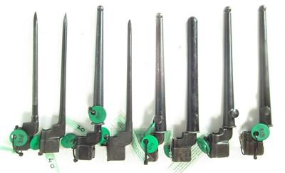 Lot 62 - Eight Lee Enfield No.4 spike bayonets