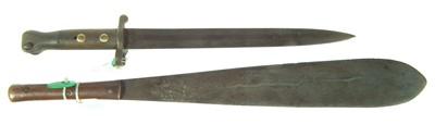 Lot 48 - Kenya Mau Mau Machete and a pattern 1888 bayonet