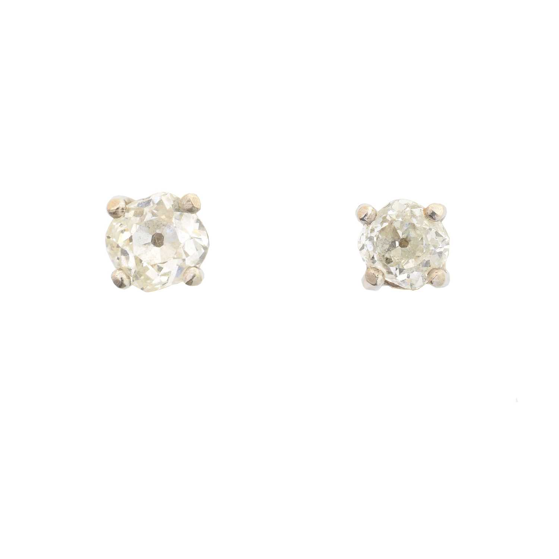 Lot 39 - A pair of old cut diamond stud earrings