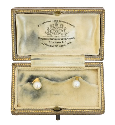 Lot 74 - A cased pair of pearl dress studs