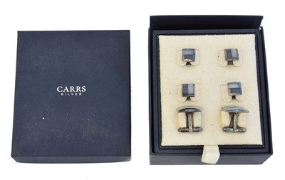 Lot 75 - A cased set of silver cufflinks and dress studs