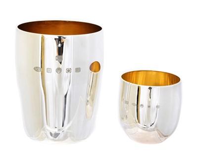 Lot 181 - Two Elizabeth II Britannia silver beakers