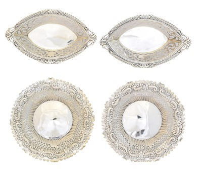 Lot 187 - Two pairs of silver pierced dishes