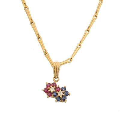 Lot 82 - A vari gem floral pendant