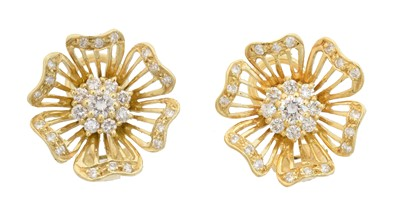 Lot 52 - A pair of 18ct gold diamond earrings by Cropp & Farr