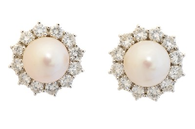 Lot 54 - A pair of cultured pearl and diamond earrings