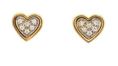 Lot 43 - A pair of 18ct gold diamond heart stud earrings
