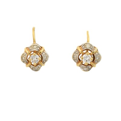 Lot 20 - A pair of 18ct gold diamond earrings