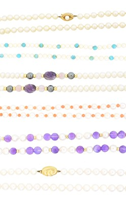 Lot 37 - A selection of cultured pearl necklaces
