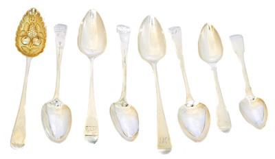 Lot 204 - A selection of George III and later table spoons
