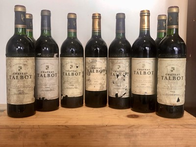 Lot 22 - 9 bottles Mixed Lot of Vintages of Chateau Talbot Grand Cru Classe St Julien