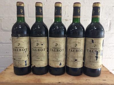 Lot 28 - 5 bottles Chateau Talbot Grand Cru Classe St Julien 1988 (5 vts)