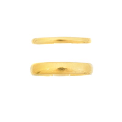 Lot 60 - Two 22ct gold band rings