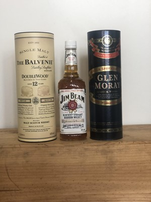 Lot 94 - 3 Bottles Mixed Lot Fine Speyside Malts together with Jim Beam Kentucky Bourbon