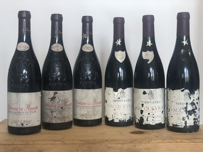 Lot 55 - 6 Bottles mixed Lot 2001 Chateauneuf du Pape and Vacqueyras