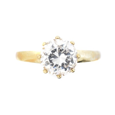 Lot 54 - A 9ct gold cubic zirconia single stone ring