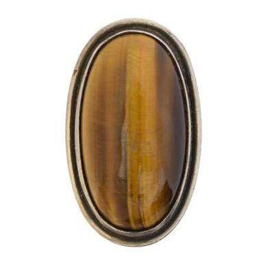 Lot 104 - A Georg Jensen tiger's eye ring, no. 46E