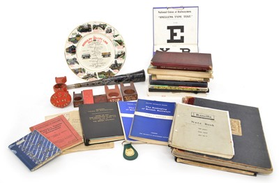 Lot 81 - Collection of Railwayana to include books, notepads, signal lever collars and a lookout horn