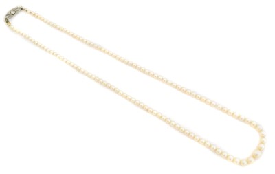 Lot 89 - A cultured pearl and diamond necklace