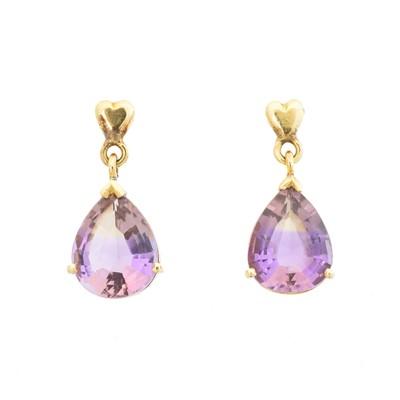 Lot 46 - A pair of ametrine drop earrings