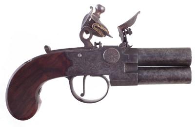 Lot 208 - Henry Nock flintlock 120 bore double barrel pistol