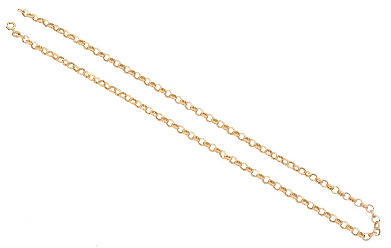 Lot 34 - A 9ct gold belcher link chain