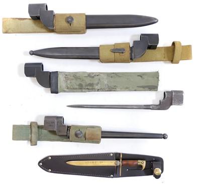 Lot 75 - Five No.4 Lee Enfield Rifle bayonets and a trench art bayonet