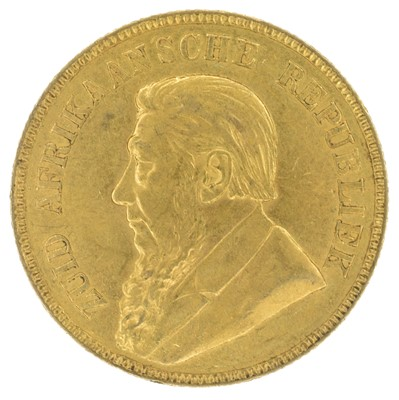 Lot 60 - South African, One Pond (Pound), 1898, gold coin.