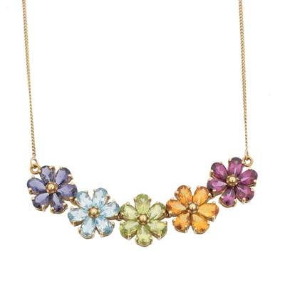 Lot 80 - A 9ct gold vari-gem necklace