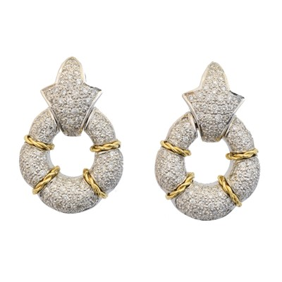 Lot 48 - A pair of 18ct gold diamond earrings