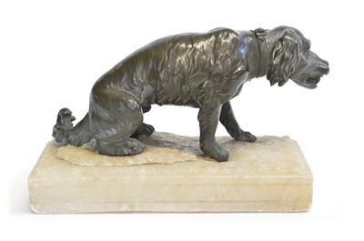 Lot 111 - Bronze figure of seated Spaniel dog