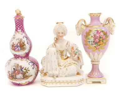 Lot 236 - Two vases and a figure