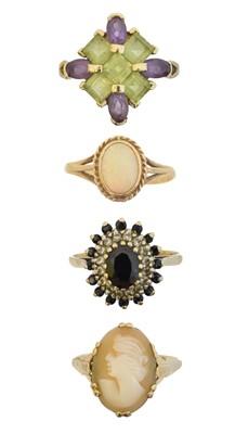 Lot 67 - Four 9ct gold gem set dress rings