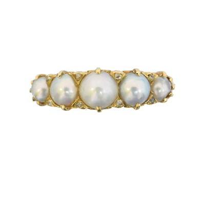 Lot 106 - An 18ct gold split pearl and diamond dress ring