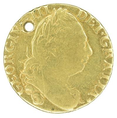 Lot 33 - King George III, Guinea, 1786, pierced.